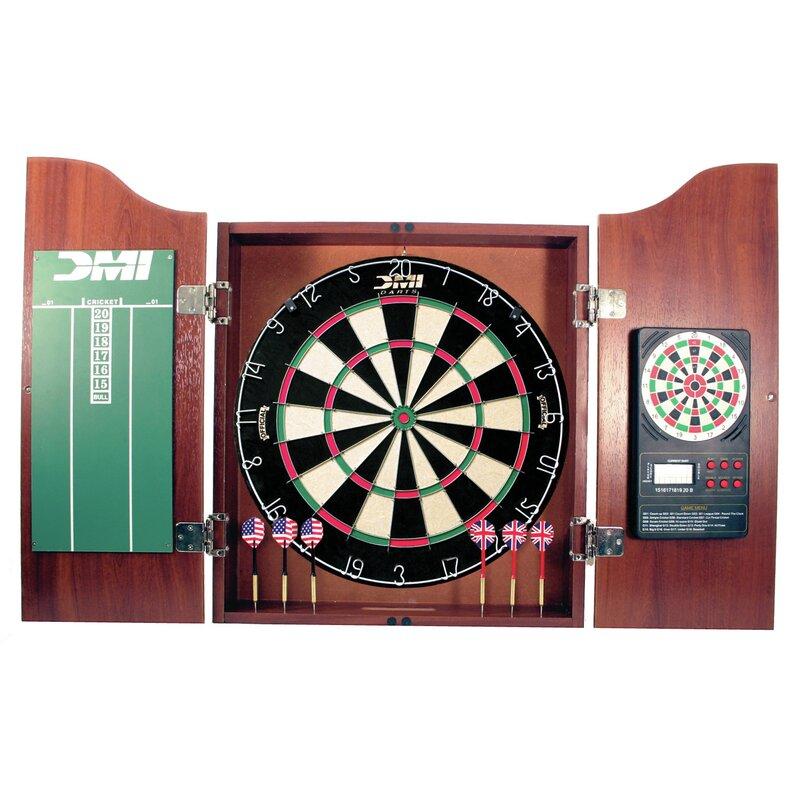 Merveilleux 5 Piece Dartboard Cabinet Set With Electronic Scorer