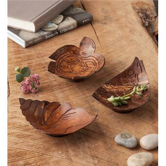 Wind & Weather Coconut Shell 3 Piece Decorative Bowl Set