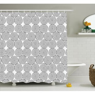 Kathryn Vintage Triple Spiral Pattern With Rotational Symmetric Lines Boho Decor Single Shower Curtain