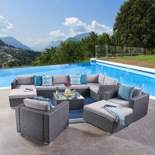 Diez 11 Piece Rattan Sectional Seating Group with Cushion by Orren Ellis