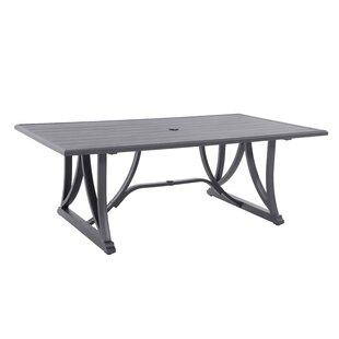Attalla Post Leg Slats Rectangular Metal Dining Table