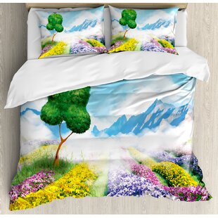 East Urban Home Nature Print Cartoon Like Scenery of Flowers Trees Gardens and Mountains Artwork Duvet Set