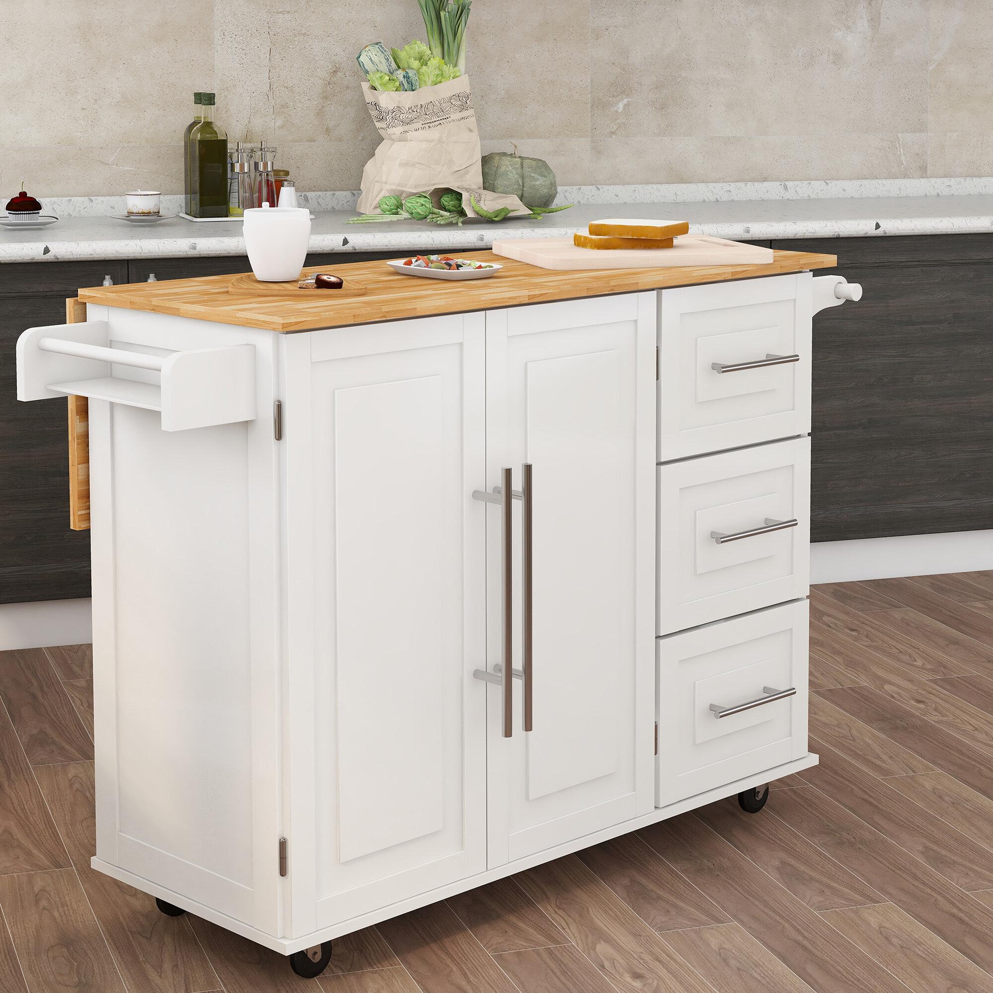 Red Barrel Studio Aybaniz Kitchen Island Solid Wood With Spice Rack Towel Rack And Extensible Table Top Reviews Wayfair