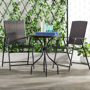 Gretchen Patio Wicker 3 Piece Bistro Set by Three Posts
