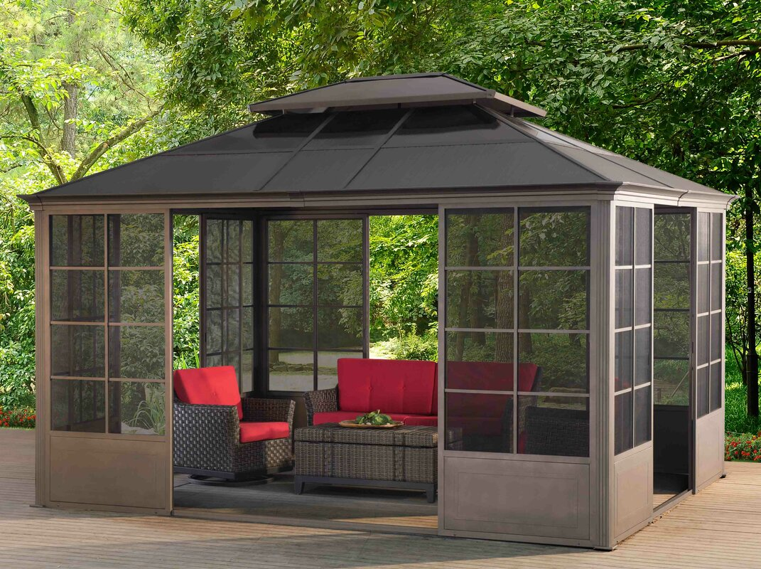 12 Ft. W x 14 Ft. D Metal Permanent Gazebo & Sunjoy 12 Ft. W x 14 Ft. D Metal Permanent Gazebo u0026 Reviews | Wayfair