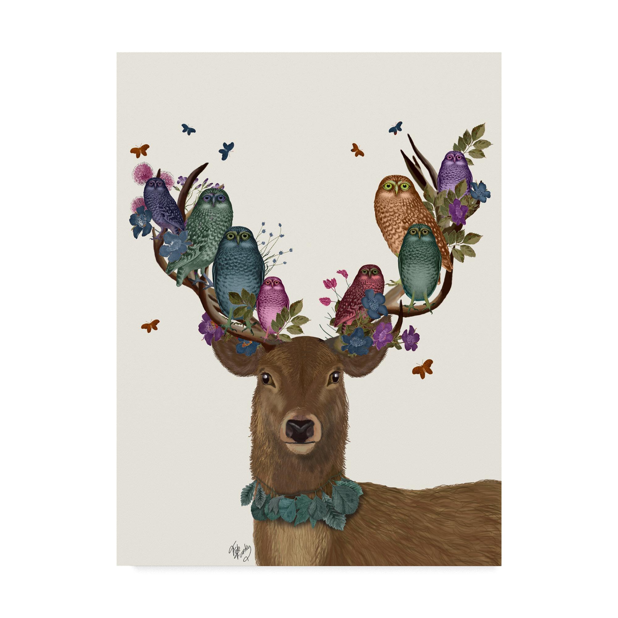 Winston Porter Deer Birdkeeper Owls Graphic Art Print On Wrapped Canvas Wayfair