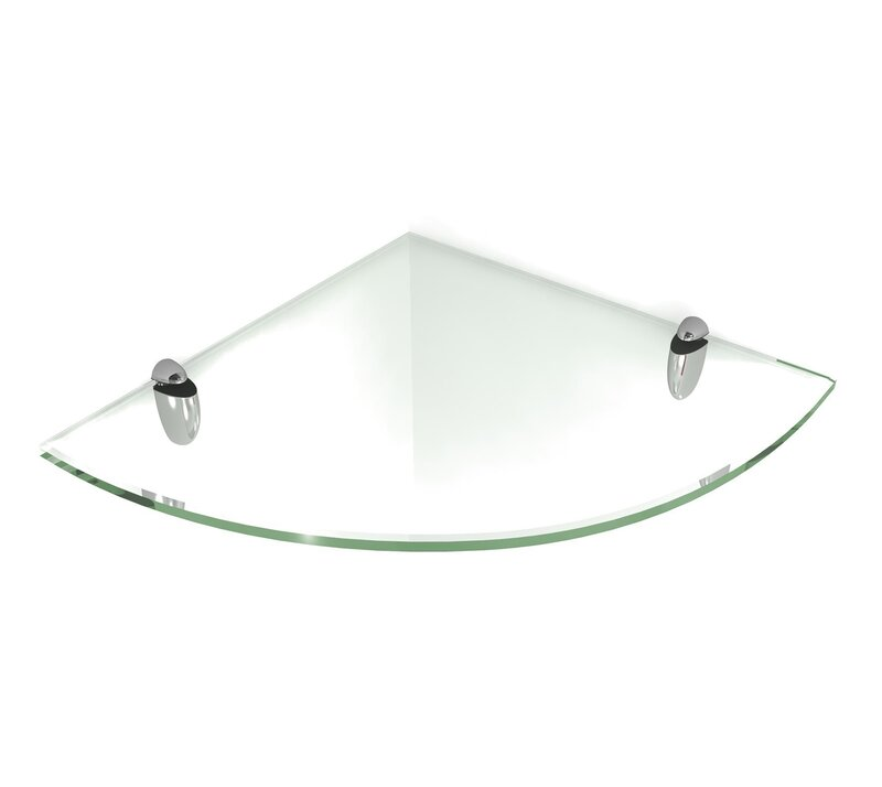 fab glass and mirror floating glass shelf with chrome brackets rh wayfair com floating glass shelves nz floating glass shelves brackets