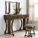 Angeline Vanity Set with Stool and Mirror by Red Barrel Studio®