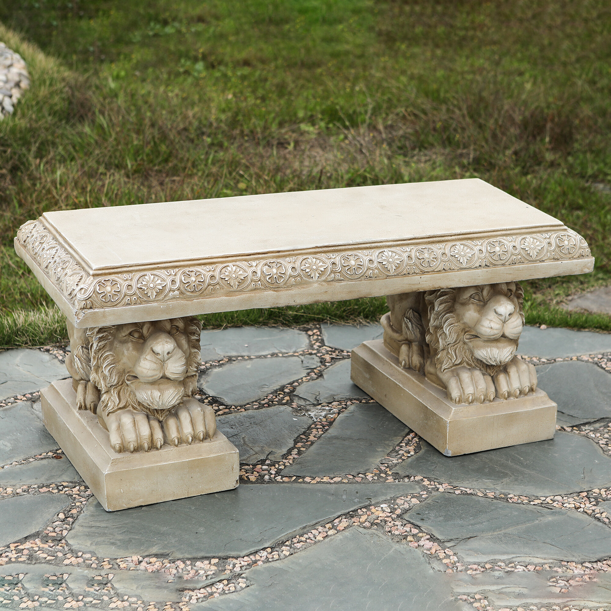 Astonishing Raguel Lion Stone Concrete Garden Bench Inzonedesignstudio Interior Chair Design Inzonedesignstudiocom