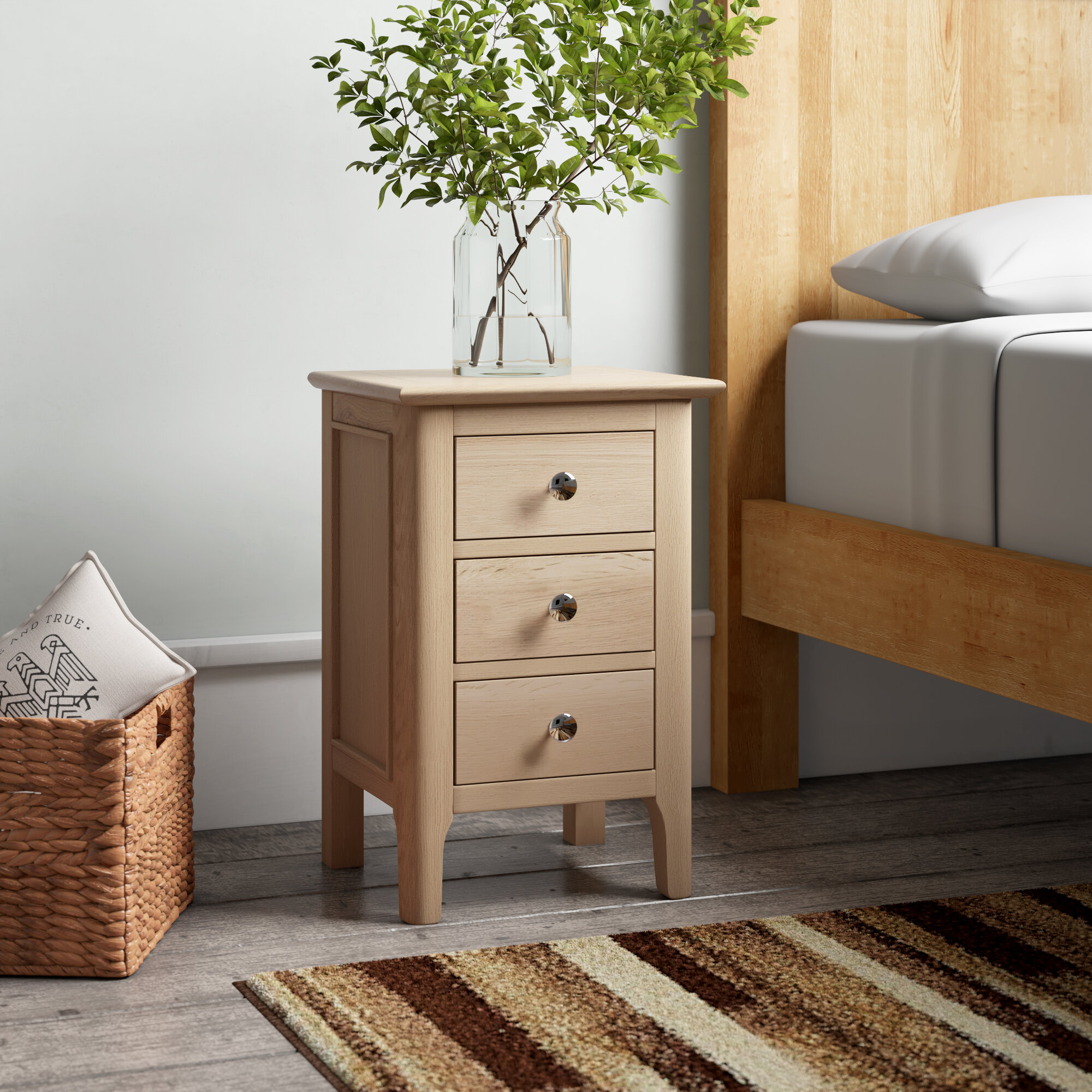Bedside Chest of Drawers Oak 3 Drawer Bedside Table Solid Wood Linear