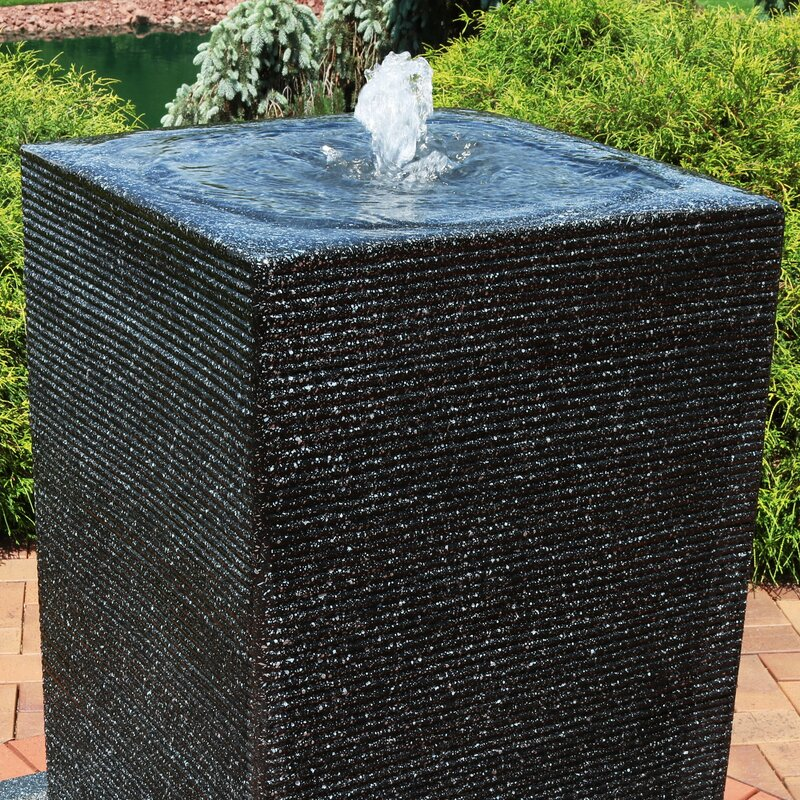 Skaggs Resin Pillar Outdoor Water Fountain With Led Light