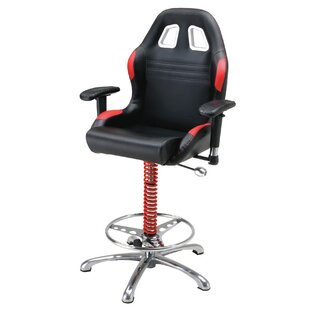 Racing Style Adjustable Height Swivel Bar Stool PitStop Furniture