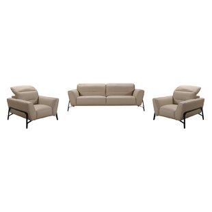 Best Price Coalpit Heath 3 Piece Leather Living Room Set by Orren Ellis