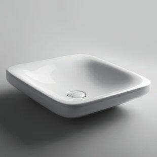 WS Bath Collections Start Ceramic Ceramic Square Vessel Bathroom Sink