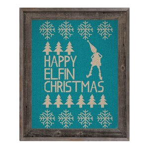 'Happy Elfin' Christmas Teal' Framed Graphic Art