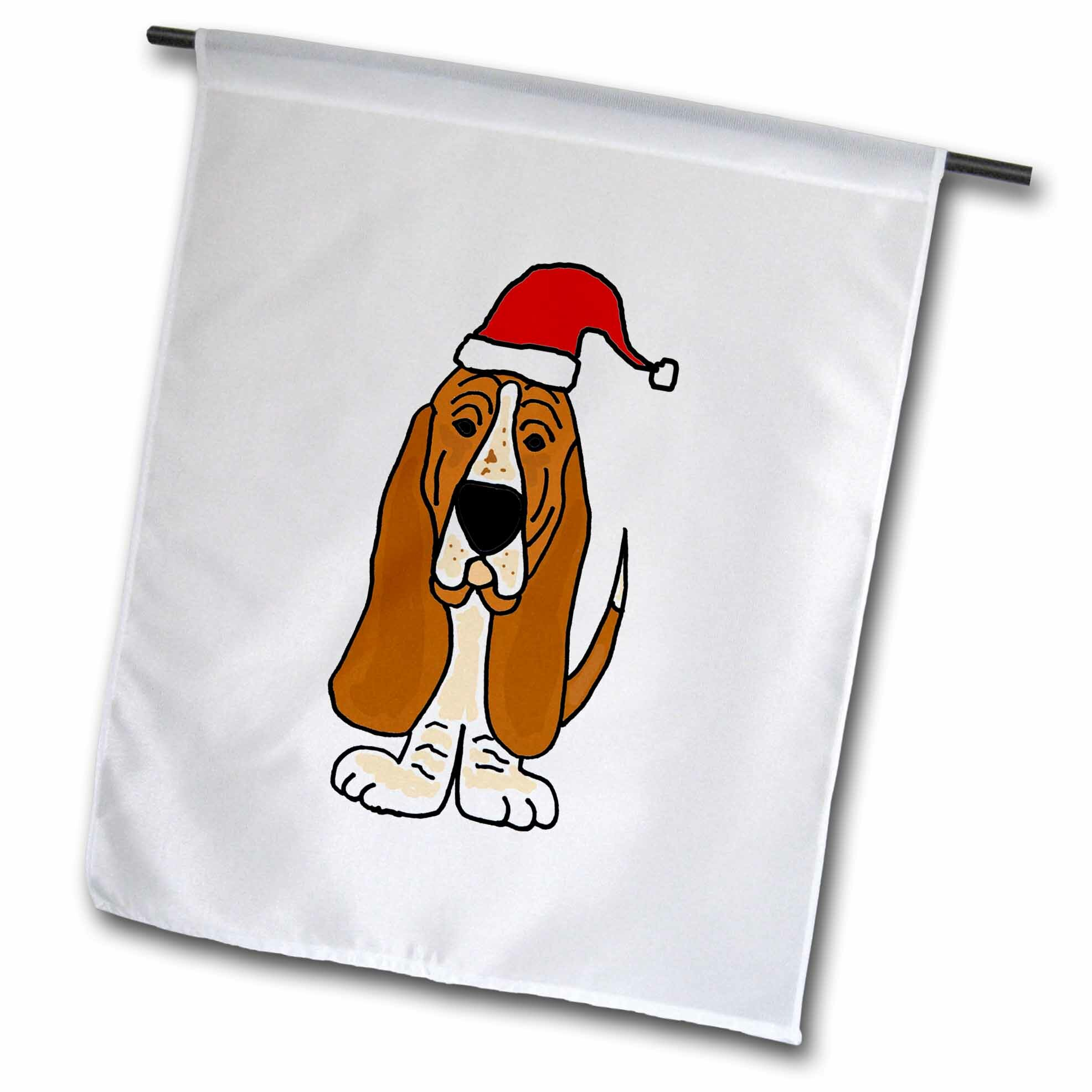3drose Funny Basset Hound Puppy Dog In Santa Claus Hat Polyester Garden Flag