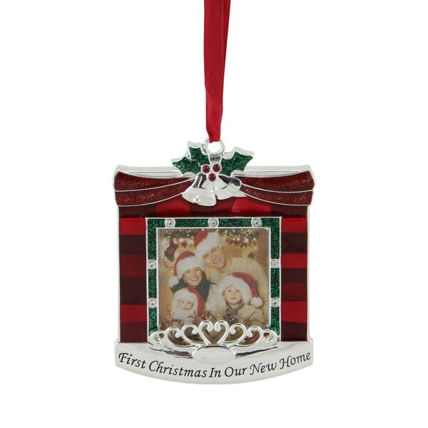 Northlight 3 25 Red And Green â œfirst Christmas In Our New Home Fireplace Silver Plated Photo Frame Ornament Reviews Wayfair