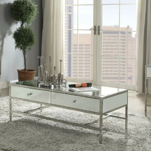 Everly Quinn Sheena Modern Rectangular Metal and Mirror Coffee Table with Storage