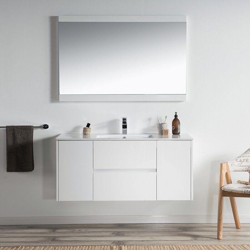 Orren Ellis Oquendo 48 Wall Mounted Single Bathroom Vanity Set With Mirror Reviews Wayfair