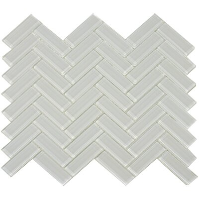 The Bella Collection Herringbone Shiny 3 x 1 Glass Mosaic Tile in Mist