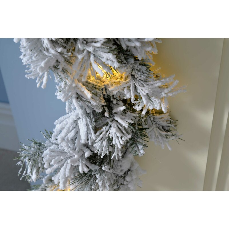 Pre Lit Led Snow Flocked Spruce Garland