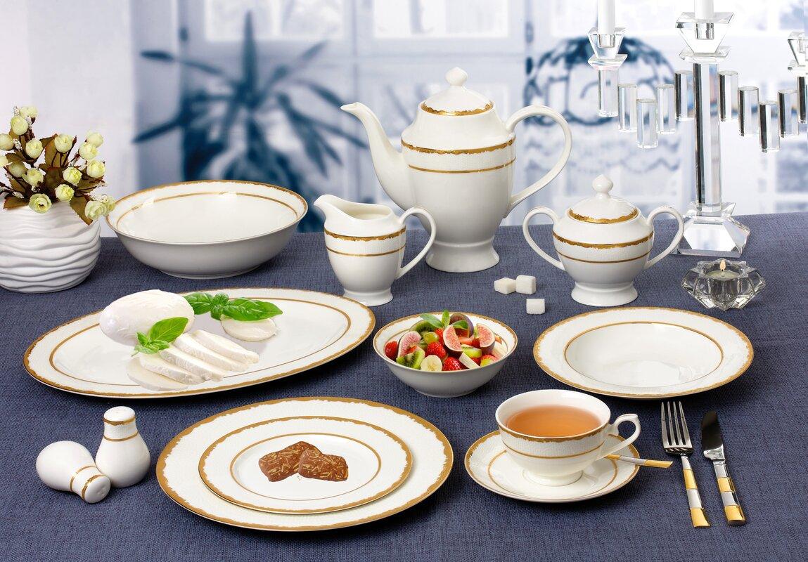 La Luna New Bone China Dinnerware Set Service for 8 & Lorren Home Trends La Luna New Bone China Dinnerware Set Service for ...