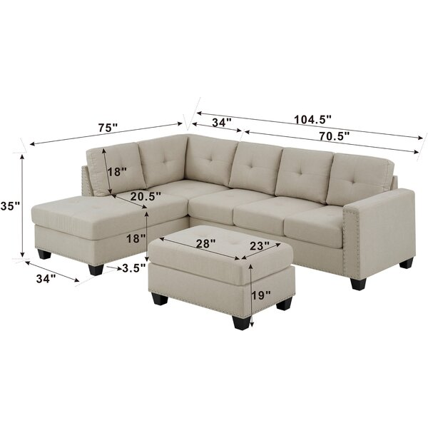 """Heckstall 105"""" Wide Reversible Sofa & Chaise with Ottoman"""