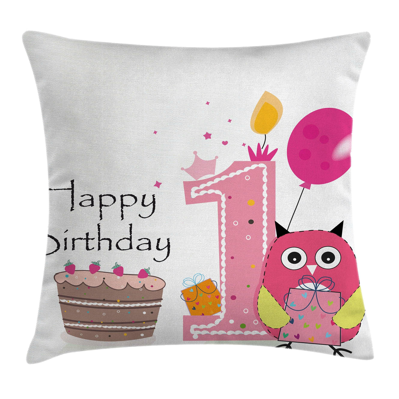 Astounding Ambesonne Cartoon First Birthday Cake Owl Square Pillow Cover Funny Birthday Cards Online Hendilapandamsfinfo