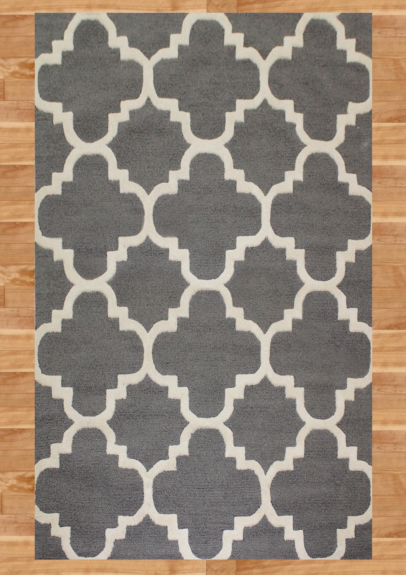 Red Barrel Studio Danielle Geometric Handmade Tufted Wool Gray Ivory Area Rug Wayfair