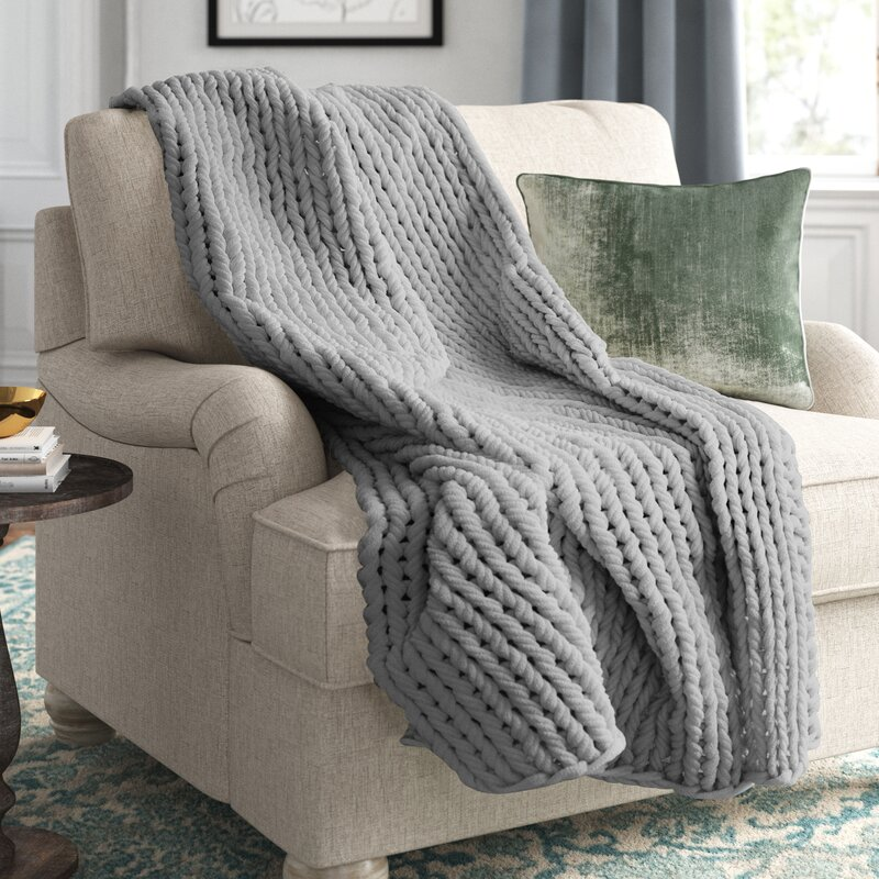 Marvelyn Double Knit Throw. See more lovely French inspired decor and furniture from Kelly Clarkson's collaboration with Wayfair in this story! #kellyclarksonhome #frenchcountry #throw #knitthrow #chunkythrow