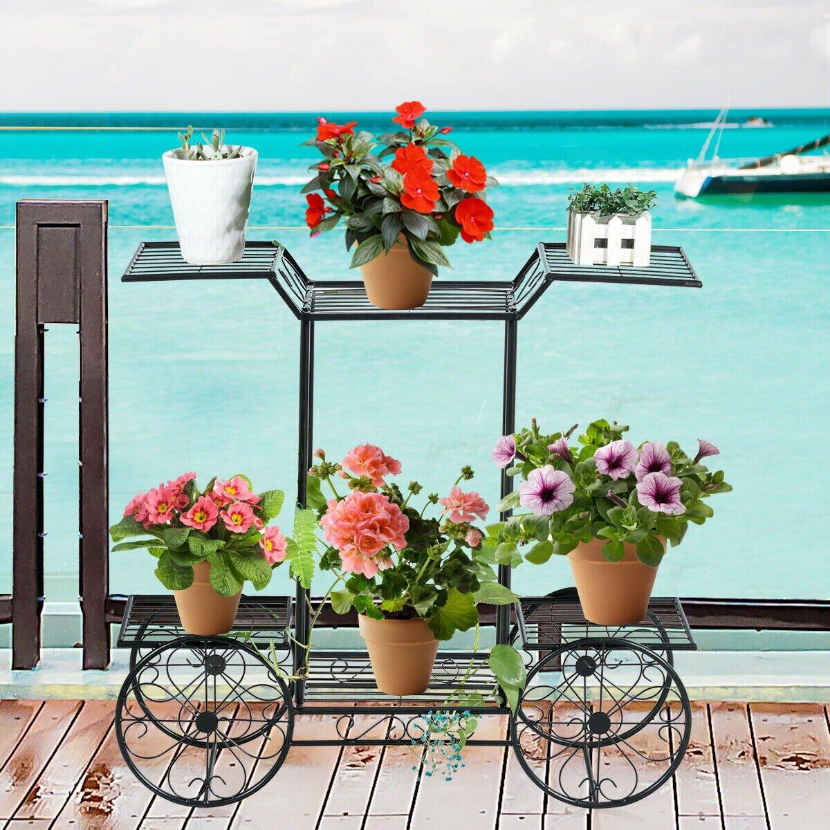 Harper Orchard Garden Cart Flower Rack Display Decor Pot 2 Piece Bicycle Plant Stand Set Wayfair