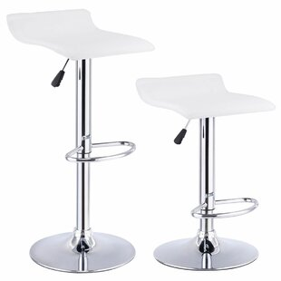 Orren Ellis Mathews 2 Piece Adjustable Height Swivel Bar Stool Set