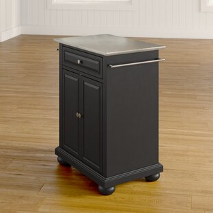 Hedon Kitchen Cart with Stainless Steel Top by Three Posts