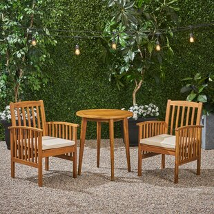 Figgs Patio 3 Piece Bistro Set with Cushions by Breakwater Bay