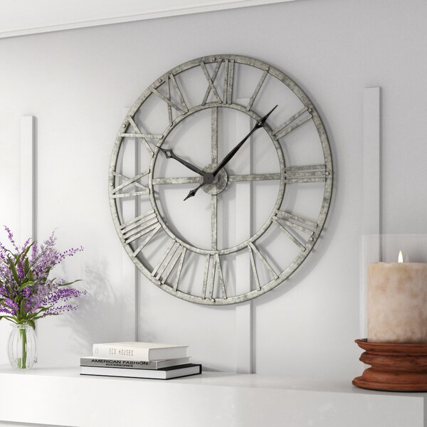 Gracie Oaks Oversized Vergara 32 Wall Clock Reviews Wayfair