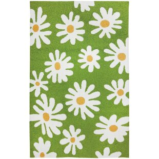 Buying Edlefsen Daisy Canvas Hand-Hooked Green/White Indoor/Outdoor Area Rug By Ebern Designs