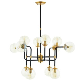 Griffen Ambition Glass and Brass 12-Light Novelty Chandelier by George Oliver