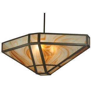 Meyda Tiffany Geometric Cognac Swirl 4-Light Bowl Pendant