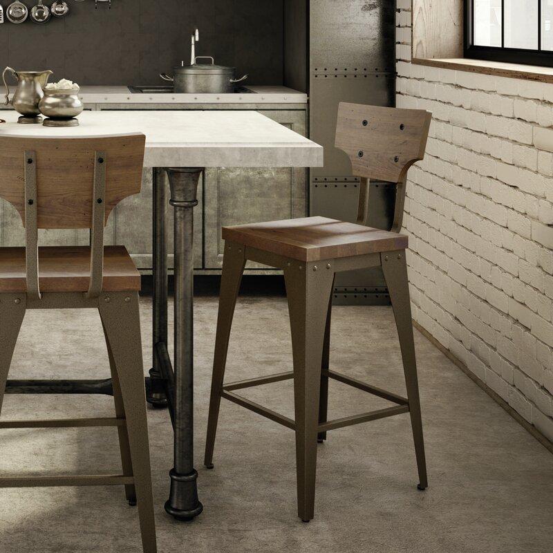 Nico Oak /& Grey Bonded Leather Kitchen Breakfast Bar Stool