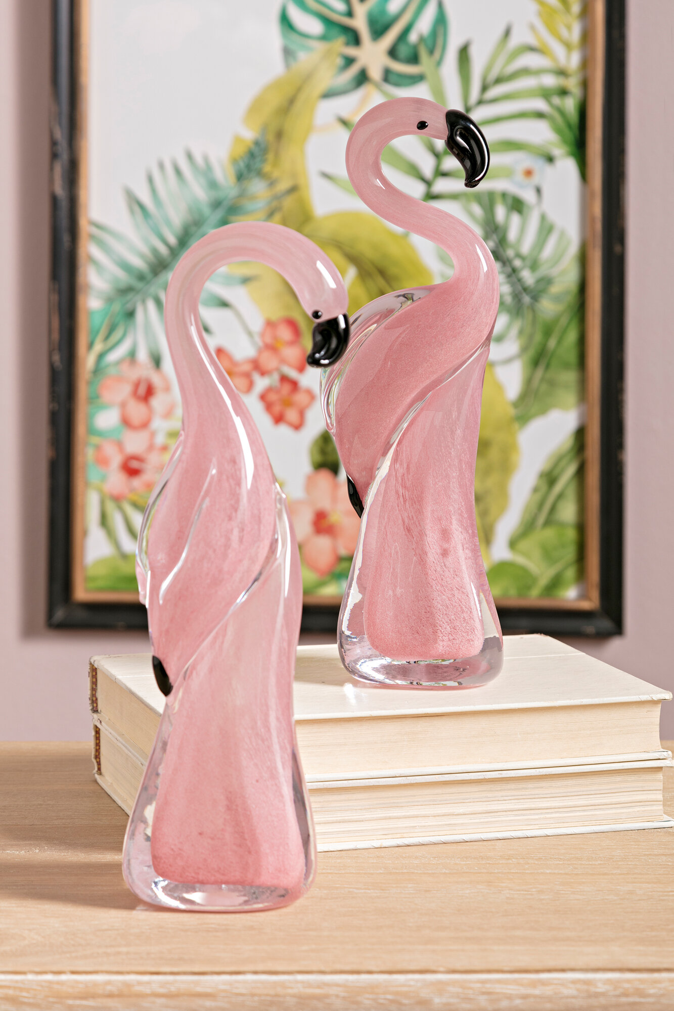 Tropical Pink Flamingo Glass Decor Art Statue Figurine