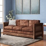 Sherly Genuine Leather 72 Square Arm Sofa by Union Rustic