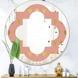 Quatrefoil Hearts Modern Frameless Wall Mirror by East Urban Home
