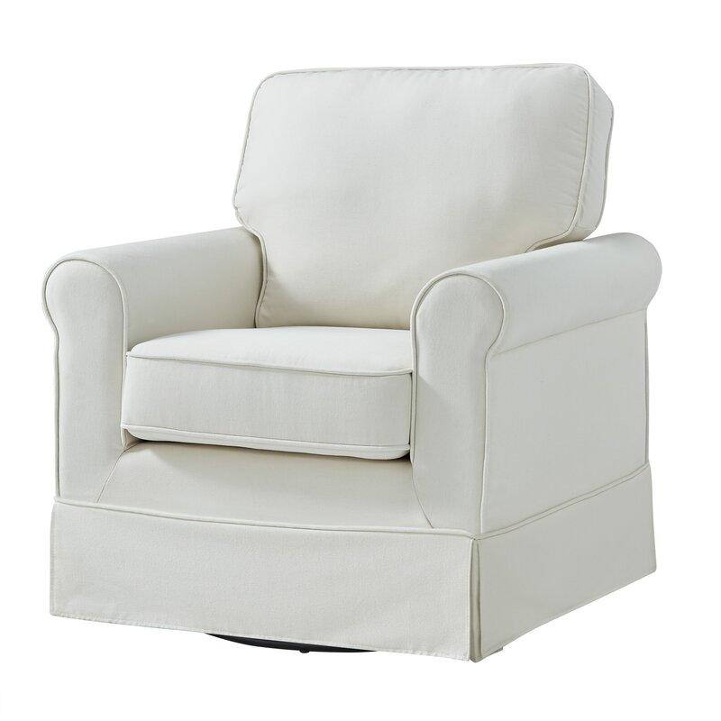 Love this beachy white swivel arm chair! Schumann Swivel Armchair