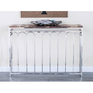 Cole & Grey 2 Piece Stainless Steel/Wood Nest Console Table Set