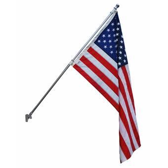 Virginia 3 x 5 FT Flag Set w// 6-Ft Spinning Flag Pole Tangle Free Bracket