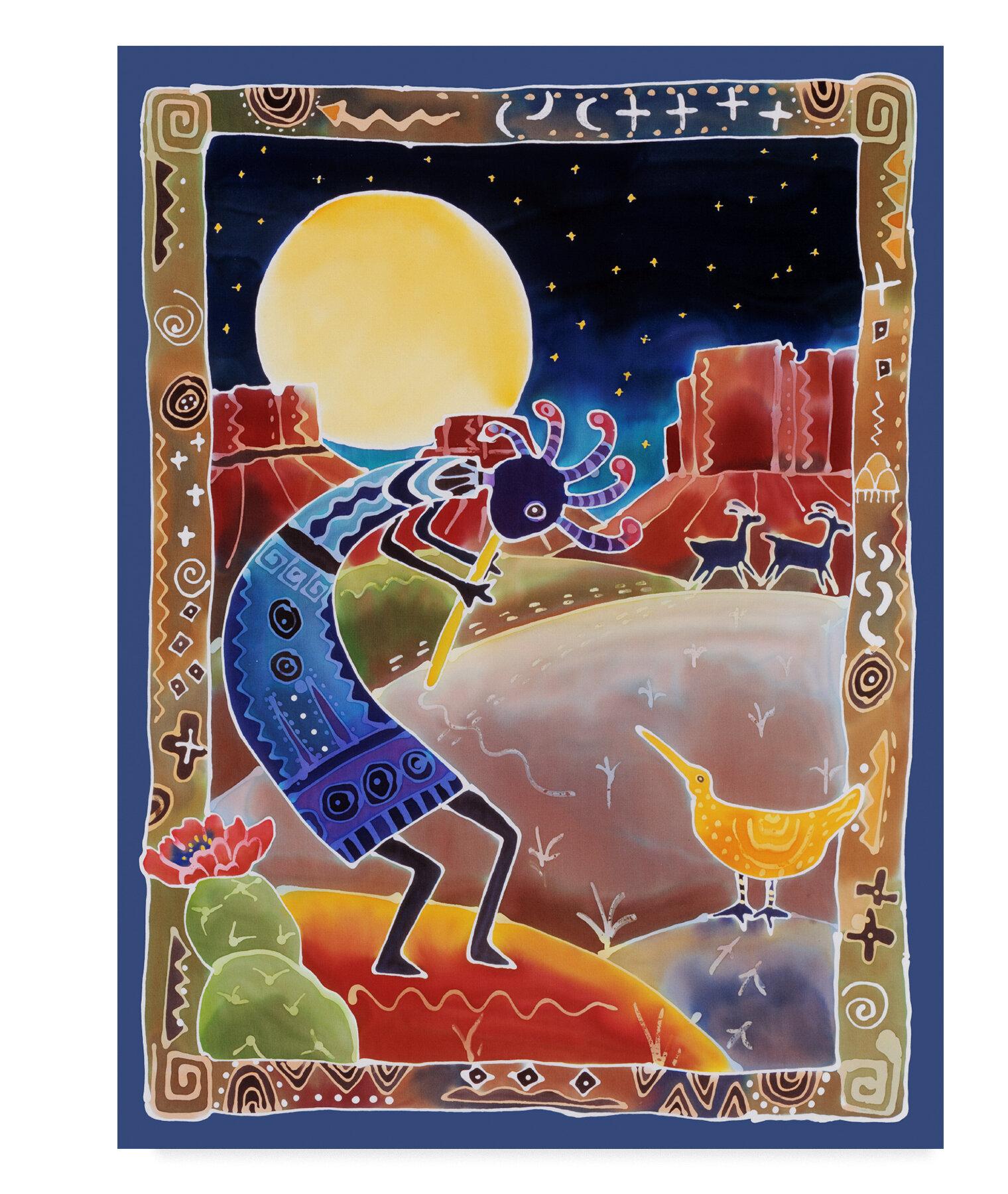 Trademark Art Kokopelli Sings Up The Moon Acrylic Painting Print On Wrapped Canvas Reviews Wayfair