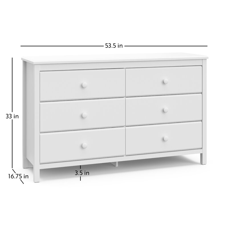 Coordinates with Any Kids Bedroom or Baby Nursery Espresso 6 Spacious Drawers with Handles Storkcaft Alpine 6 Drawer Dresser Stylish Storage Dresser Chest for Bedroom
