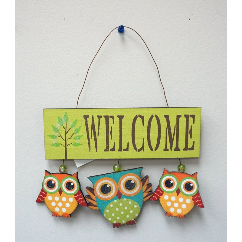 AttractionDesignHome 3 Piece Owl Welcome Sign Wall Decor Set | Wayfair