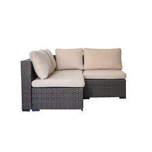 Holliston 3 Piece Rattan Sectional Seating Group with Cushions