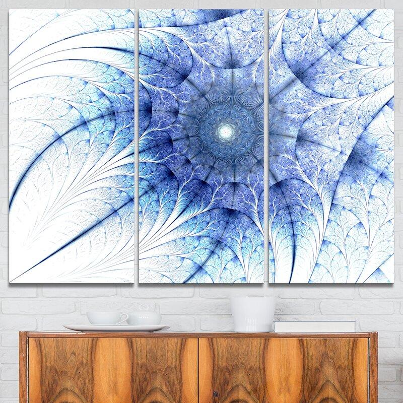 Designart Symmetrical Blue Fractal Flower 3 Piece Graphic Art On Wrapped Canvas Set Wayfair